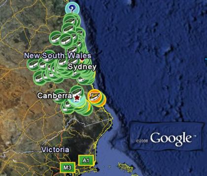 Google Earth - Australien Sydney - Geocaches