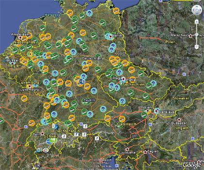 Googel Earth - Deutschland - Geocaches