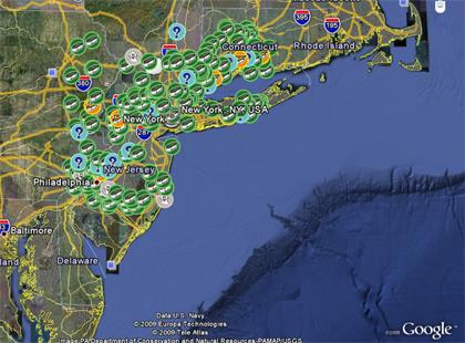 Google Earth - New York - Geocaches