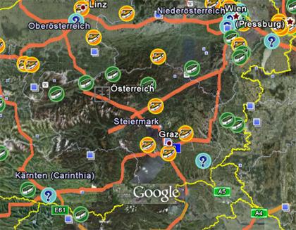 Google Earth - Österreich - Geocaches