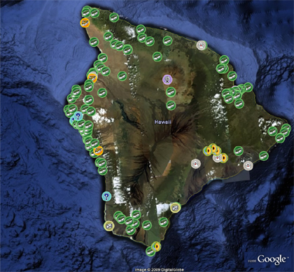 Hawaii Caches - Google Earth