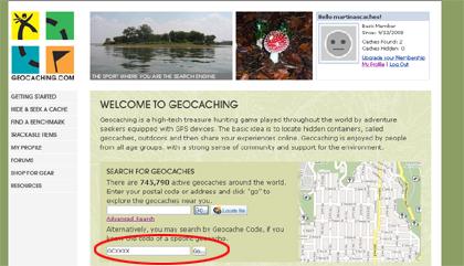 special - cache finden - geocaching.com - Cache Kennung eingeben