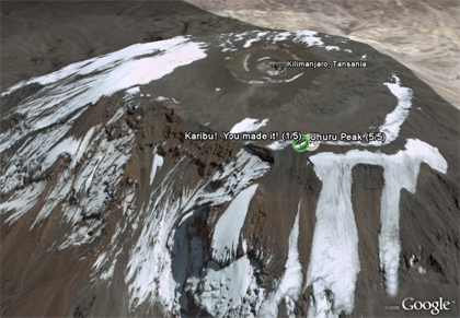 Kilimandscharo - Google Earth Perspektive