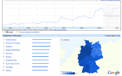 Geocaching - Google Insights - Grafik - Deutschland