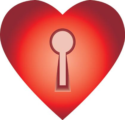 Herz mit Schlüsselloch - Stock Foto