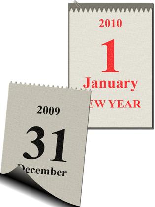 Kalenderblatt Jahreswechsel 2009