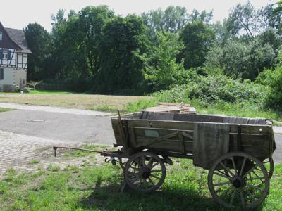 Alter Bauern Wagen auf Huntershausen - Kühkopf