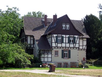 Altes Fachwerkhaus auf dem Hofgut Guntershausen - Kühkopf